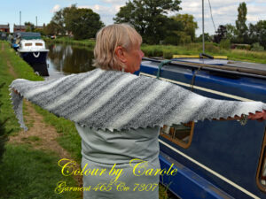 """A Monochrome Dragon tooth scarf hand knitted aboard the narrow boat """"Emma Maye"""" in Lancashire by Carole Wareing of Colin and Carole's Creations."""