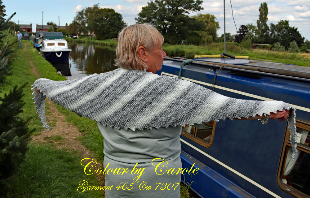 "A Monochrome Dragon tooth scarf hand knitted aboard the narrow boat ""Emma Maye"" in Lancashire by Carole Wareing of Colin and Carole's Creations."