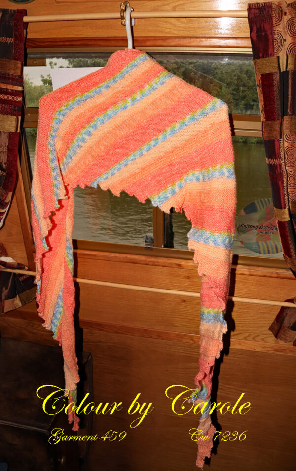 "A Dragon tooth scarf hand knitted aboard the narrow boat ""Emma Maye"" in Lancashire by Carole Wareing of Colin and Carole's Creations."