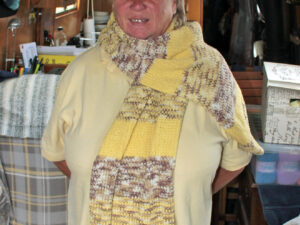 Carole has hand knitted this wrap from J C Bretts Cotton on yarn, which is a cotton and acrylic mix and double knitting weight.