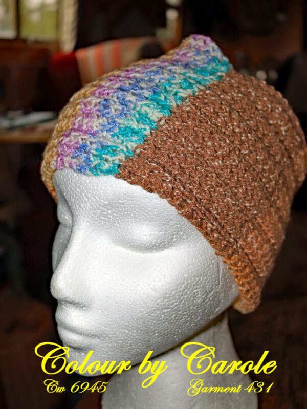 """A ribbed textured headband hand knitted aboard the narrow boat """"Emma Maye"""" in Lancashire by Carole Wareing of Colin and Carole's Creations."""