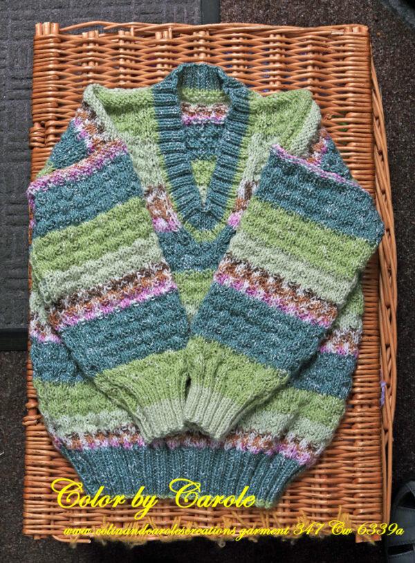 Childs Harmony V necked green jumper