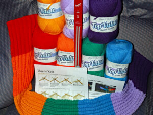 Rainbow scarf knitting kit