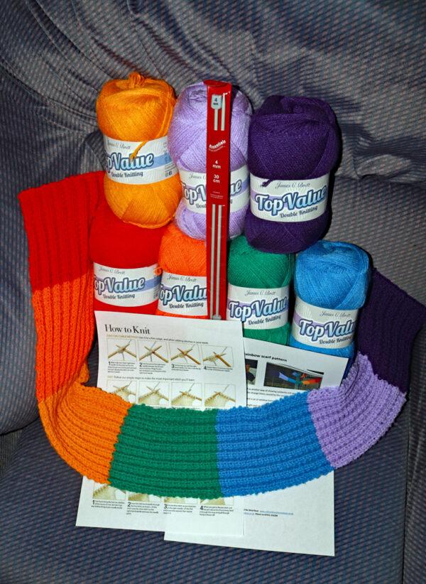 Rainbow scarf knitting kit