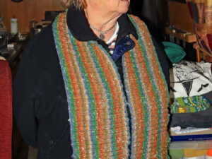 "Neck warmer from Northern Lights A neck scarf hand knitted aboard the narrow boat ""Emma Maye"" in Lancashire by Carole Wareing of Colin and Carole's Creations."