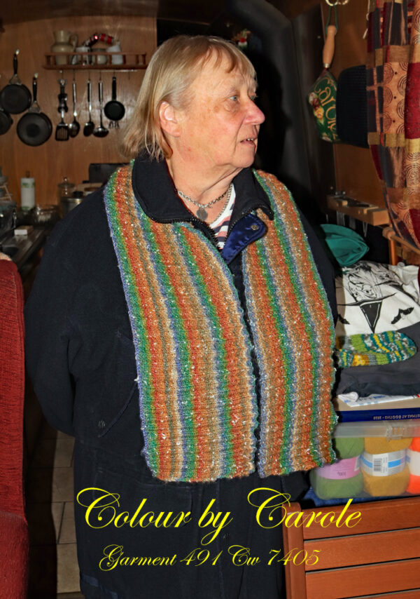 """Neck warmer from Northern Lights A neck scarf hand knitted aboard the narrow boat """"Emma Maye"""" in Lancashire by Carole Wareing of Colin and Carole's Creations."""