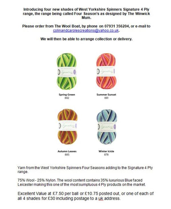 Four seasons sock yarn advert