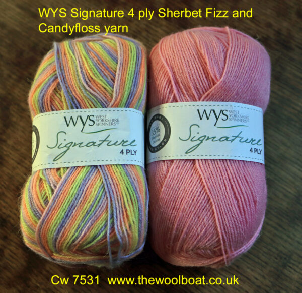 WYS Signature 4 ply Sherbet Fizz and Candyfloss yarn. West Yorkshire Spinners Signature 4 ply yarn that is also great for sock knitting as it contains Nylon and polyester to make it hard wearing. These two shades are Sherbet Fizz shade 845 and Candyfloss shade 547 which complement each other quite well.