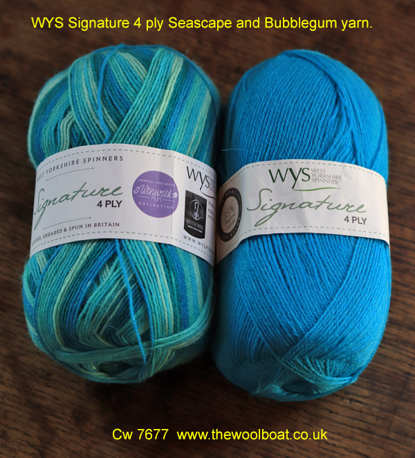 WYS Signature 4 ply Seascape and Bubblegum yarn. West Yorkshire Spinners Signature 4 ply yarn that is also great for sock knitting as it contains Nylon and polyester to make it hard wearing. These two shades are Seascape shade 873 and Bubblegum shade 360 which complement each other quite well. The Seascape is one of the 4 season's range of yarns designed by the Winwick Mum.