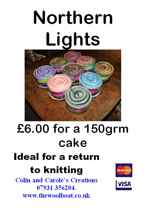 """Yesterday we sold some """"Northern Lights"""" yarn to a lady who lives in California who was originally from Wigan 🙂. Wonder where our yarn will end up today from being open outside The Farmers Arms?"""