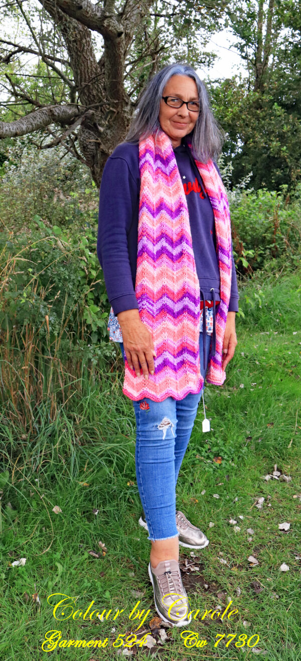 Pink, Purple and lilac chunky scarf. A long and warm bright scarf designed and hand knitted by Carole Wareing of Colin and Carole's Creations and The Wool Boat.