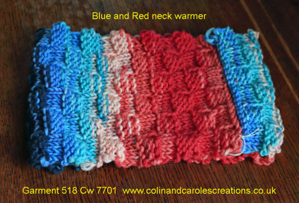 """Blue and Red neck warmer A lovely warm neck warmer or headband designed and hand knitted by Carole Wareing of Colin and Carole's Creations and The Wool Boat. This is an adult sized garment, with chunky basket weave stitching, ideal for gardening, typing, mechanicing, IT work, locking, bicycling, standing markets, fishing, watching outdoor sports and events, or walking and rambling. The garment is approx 20inch round and 6 inch deep. The warmer is for sale for £10 from the Wool Boat The warmer is knitted from J C Bretts """"Party Time"""" chunky knitting acrylic yarn Shade PT 8 which has bold Blue and Red shades in it. The yarn knits to most chunky knitting patterns and is available from the Wool Boat of which we have a range of 7 other shades at £3.50 per 100 gram ball. Posted out for £15 including delivery to a uk address,"""