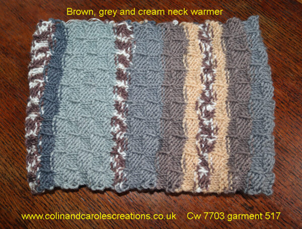 """Brown, grey and cream neck warmer A lovely warm neck warmer or headband designed and hand knitted by Carole Wareing of Colin and Carole's Creations and The Wool Boat. This is a adult sized garment ideal for gardening, typing, mechanicing, IT work, locking, bicycling, standing markets, or walking and rambling and of course boating, on a canal, river or the sea. The warmer is for sale for £10 from the Wool Boat The warmer is knitted from J C Bretts """"Fairground"""" double knitting acrylic yarn Shade G5 which has bold Brown, grey and cream shades in it. The yarn knits to most double knitting patterns and is available from the Wool Boat and we have a range of 11 other shades at £3 per 100 gram ball. Posted out for £15 including delivery to a uk address,"""